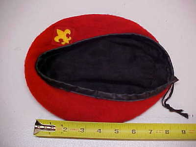 Vintage Small Official HeadWear Boy Scouts Of America Red Wool Beret Hat