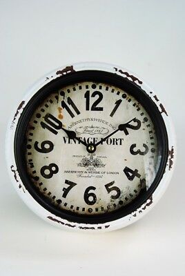 Wall Black Clock White distressed VINTAGE PORT Metal Clock Round