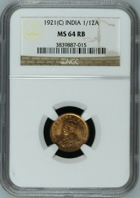 British India KGV 1921 C 1/12 Anna NGC MS64 RB