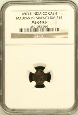 India Madras Presidency 1803 1 Cash Copper NGC MS64RB!