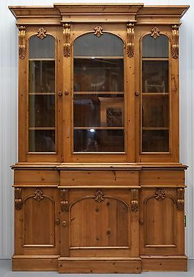 Antique English Pine Breakfront Bookcase Cabinet Hand Carved Wood Welsh Dresser