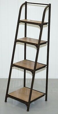 Vintage Industrial Steel Bakers Shelves Ladder Bookcase Solid Steel Fashionable