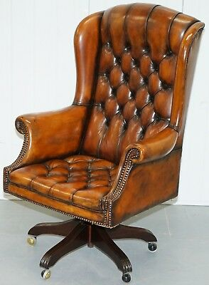 Chesterfield Captains Wingback Office Chair Hand Dyed Brown Leather