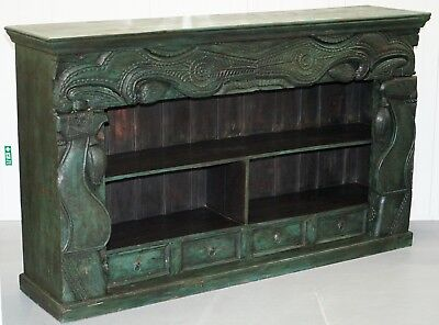 Old Rare Emerald Green Hand Carved Chinese Sideboard Solid Teak Original Paint