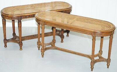 Very Rare Odd Pair Of 19Th Century Irish Walnut & Berger Window Seat Benches