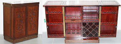 Nice Solid Rosewood Grape Vine Carved Chinese Fold Out Drinks Cabinet Sideboard