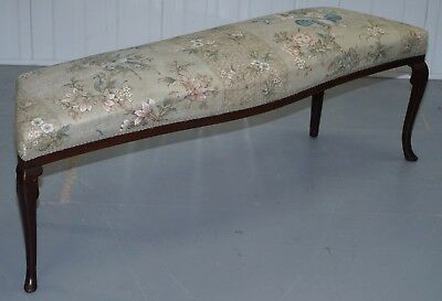 Stunning Victorian Mahogany Bench Part Of Suite Silk Floral & Birds Upholstery