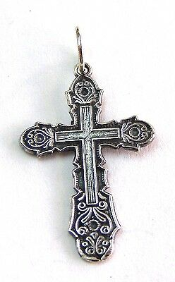Cross Orthodox Old Slavic Jesus Christ Crucifix sterling silver 925 # a83a