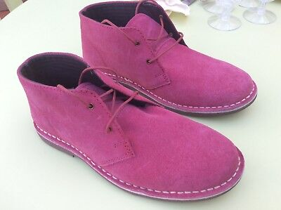 Cotton Traders Ladies Rose/pink Suede Desert Boots/Shoes Size 6
