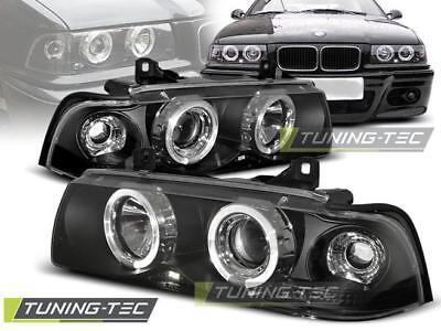 Coppia Fari Anteriori Bmw E36 12.90-08.99 Engel Eyes Black*344