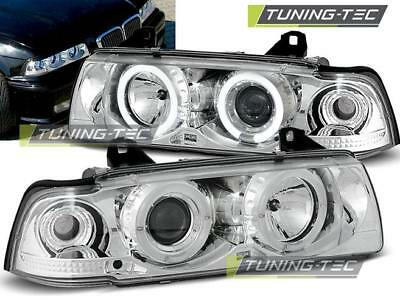 Coppia Fari Anteriori Bmw E36 12.90-08.99 Angel Eyes Chrome*343