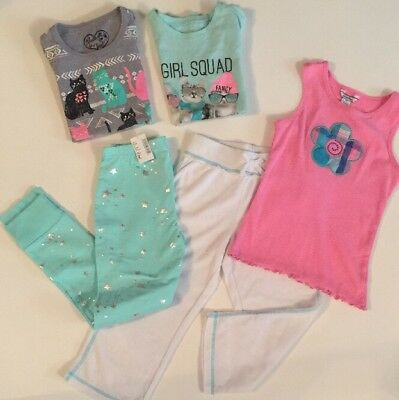 Mint Blue Pink Spring Lot Girls 7/8 Pants Tops Capri Childrens Place Hartstrings