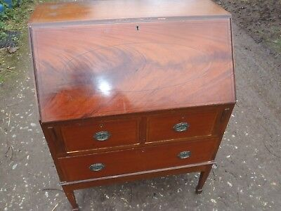 Antique bureau/ Writing Desk in solid wood with draws and compartments