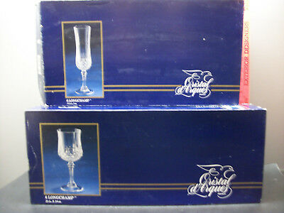 2 Sets Of 6  J.g. Durand Cristal D'arques Longchamp Lead Crystal Wine Glasses