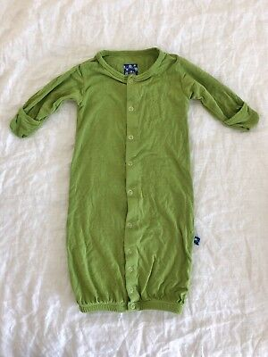 Kickee Pants Layette Converter Gown Coverall Meadow Green 0-3 Month Bamboo Baby