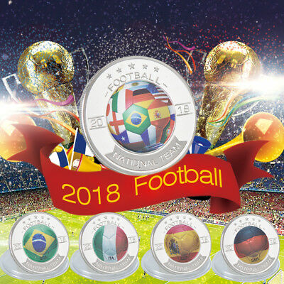 WR Russia World Cup 2018 Football Silver Commemorative Coin Soccer Fans Souvenir