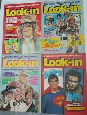 4x Look-in magazine. 80s superman worzel