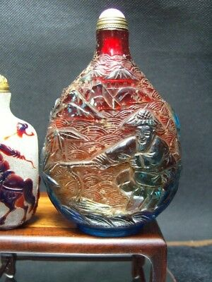 Very large  Exquisite Chinese Peking glass hand carved snuff bottle       5