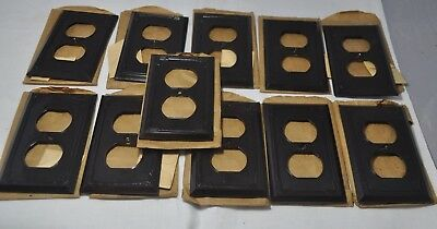 Lot Of 11  Vintage Brown Art Deco Outlet Plate Covers - Never Used