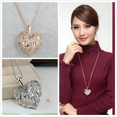 1PC Charm Women Gold Plated Heart Pendant Long Chain Sweater Necklace jewelry
