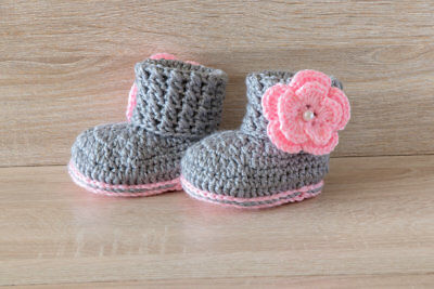 Crochet baby shoe grey and pink new all sizes available from newborn upwards