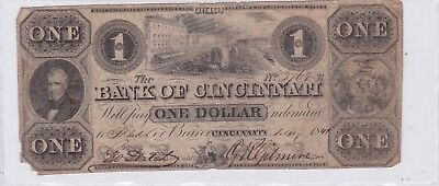 1841 Bank of Cincinnati Ohio One Dollar $1 Obsolete Currency Note