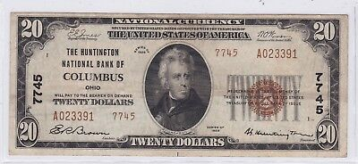 1929 Twenty Dollars National Currency Federal Reserve Bank Columbus $20 Note