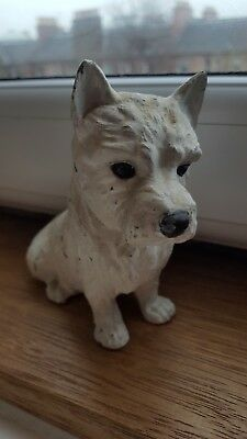 Antique Iron Terrier Dog Hand Painted