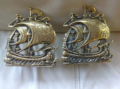 Pair of Art Nouveau Style Peerage Brass Galleon Book Ends, Book Slides