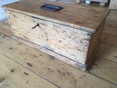 Antique Solid Pine Box/chest , Rare Size With Key