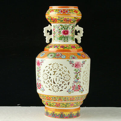 Chinese Porcelain Handmade Hollow Vase Suit  W QianLong Mark LK203