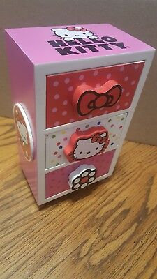 Wooden Hello Kitty dresser kids jewelry box doll clothes assessories collectible