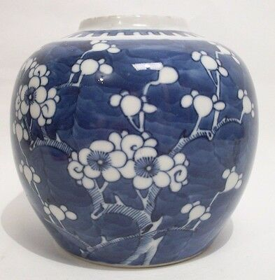 A perfect 19th C Chinese blue&white porcelain prunus ginger jar/vase Kangxi mark