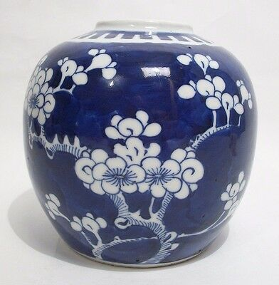Aperfect 19th C Chinese blue&white porcelain prunus ginger jar/vase Kangxi mark