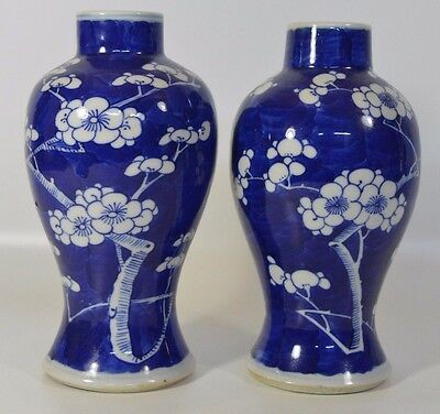 A pair of 19th century Chinese blue and white porcelain prunus vases