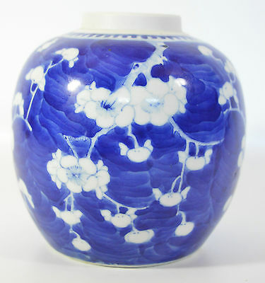 A perfect 18th/19th C Chinese blue&white prunus porcelain ginger jar/vase Kangxi