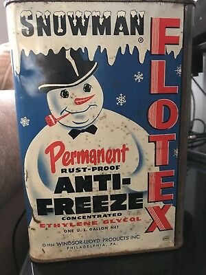 1954 Vintage Snowman Flotex Anti Freeze Service Station Oil Can Great Display