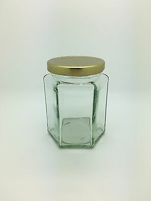 Hexagonal Glass Jam Jars 12oz with gold lids Honey,Preserves, Candles - 6 Pack