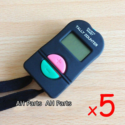 5 x Digital Hand Tally Counter Electronic Manual Clicker Gym Security running