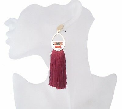 women's gold plated earring with wine red color tassel drop