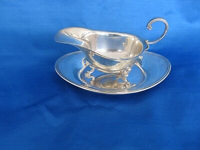 Vintage Birks Sterling Silver Gravey Boat And Tray