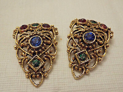 Pair of Vintage Beautiful Gold Plated W/Multi Colored Rhinestone Collar Tips