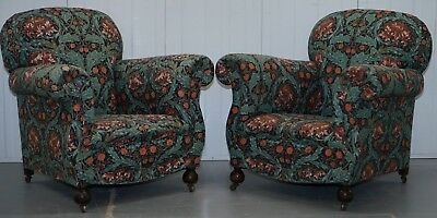 Pair Of Victorian Club Armchairs In William Morris Upholstery Fabric Part Suite