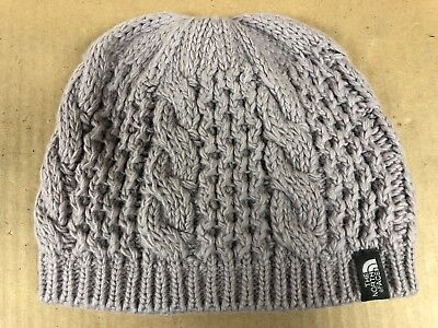 1a3ad683ab8 The North Face Women s Beanie Hat Knit Cable Minna One Size Metallic Silver