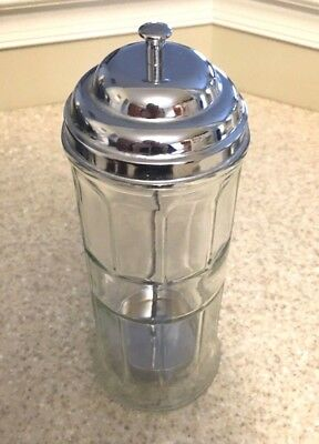 Old Fashioned Soda Shop Straw Dispenser Heavy Weight Glass & Chrome Plated Lid!