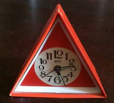 Vtg Linden Black Forest Wind Up Alarm Glow Hand Red Triangle Clock West Germany