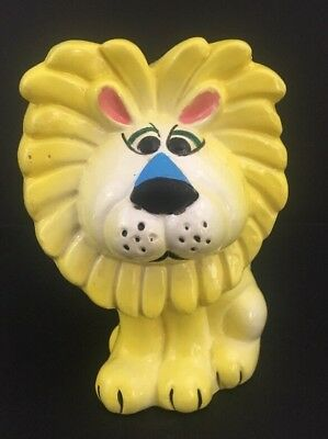 Vintage Kitsch Yellow Psychedelic Chalkware Lion Bank Walls Japan
