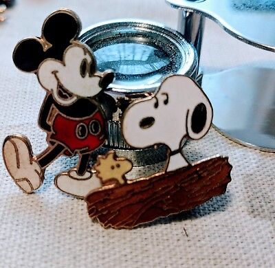 VINTAGE Mickey Mouse and Peanuts Snoopy Woodstock Enamel Pins