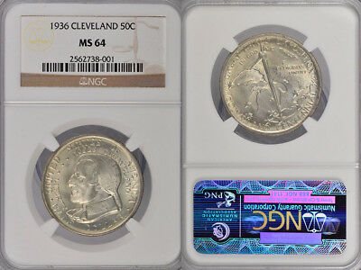 1936 Ngc Ms64 Cleveland Commemorative Silver Half Dollar !!! Fantastic Coin !!!
