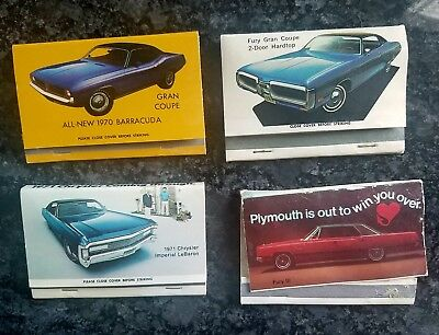 Vintage Plymouth and Chrysler dealer promo matchbook collection lot 70 Cuda
